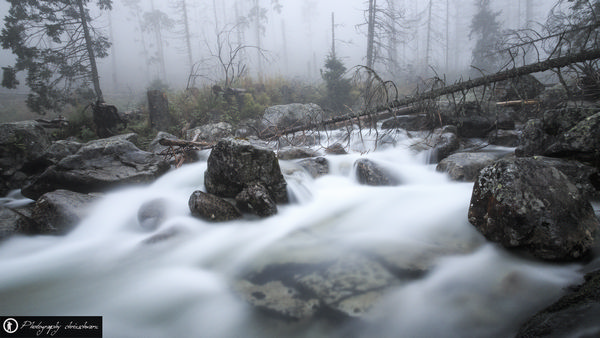 Lange Verschlusszeit ergibt Wasserschleier - Gebirgsbach in der Slowakei