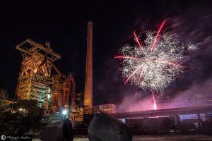 Henrichshütte Hattingen mit Feuerwerk