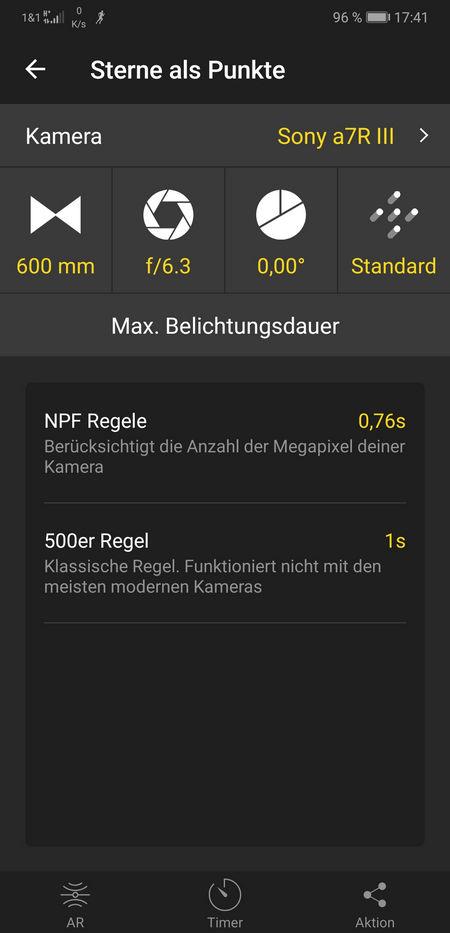 Photopills - NPF-Regel und 500er-Regel
