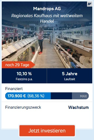 Crowdlending-Plattform Kapilendo - Mandrops AG (Screenshot Kapilendo)