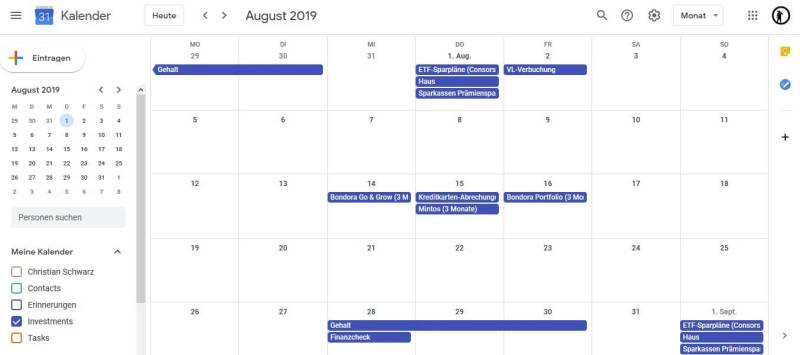 Mein Finanzkalender - Google Kalender August 2019