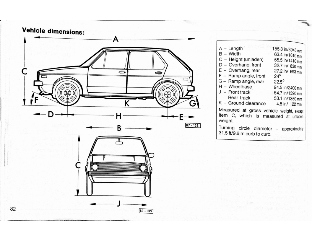 Volkswagen Rabbit Owners Manual Page 88