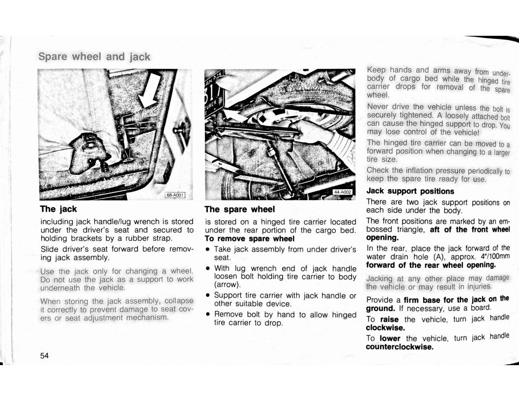Vw Rabbit Pickup Owners Manual Page 54