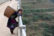 This girl is wearing the traditional indigo garments worn by the Black Hmong ethnic minority