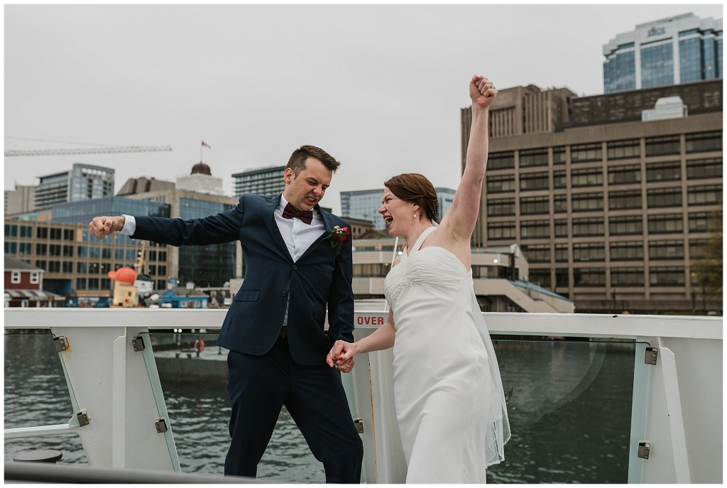 moments after saying I do on the Halifax Ferry
