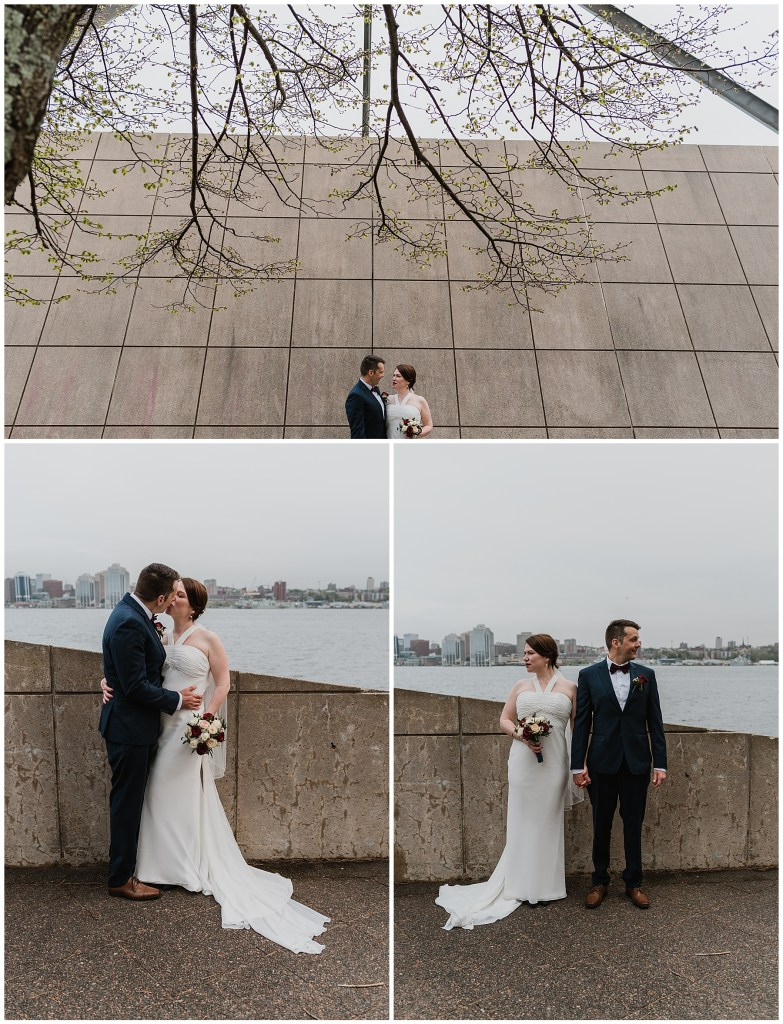 Bride and Groom Pose for photos at Alderney Landing moments before eloping on the Halifax ferry