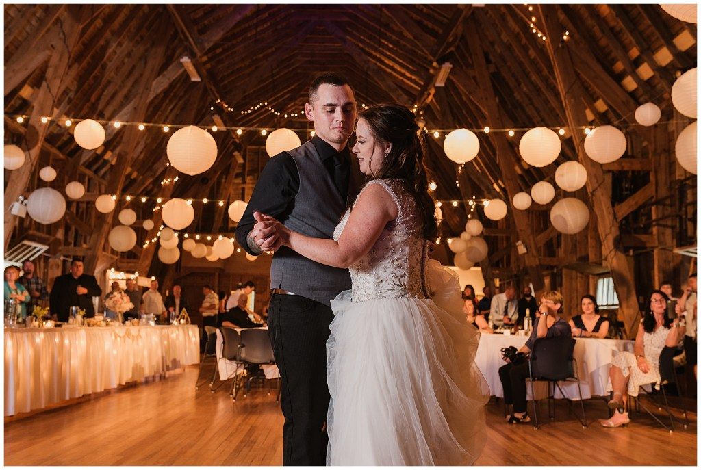 bride and groom first dance at crystal cliffs wedding venue