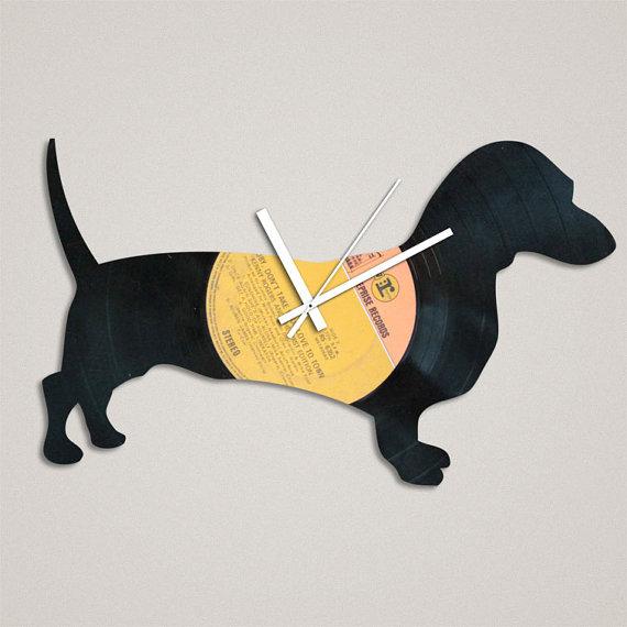 A Dachshund vinyl  clock gift.
