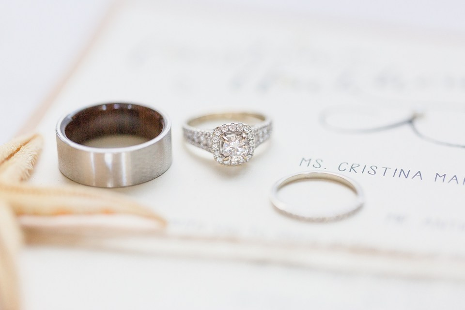 Rings on wedding invitation | Cristina and Anthony's Cheeca Lodge wedding in Islamorada, Florida | Chris Sosa Photography - Miami Wedding Photographer