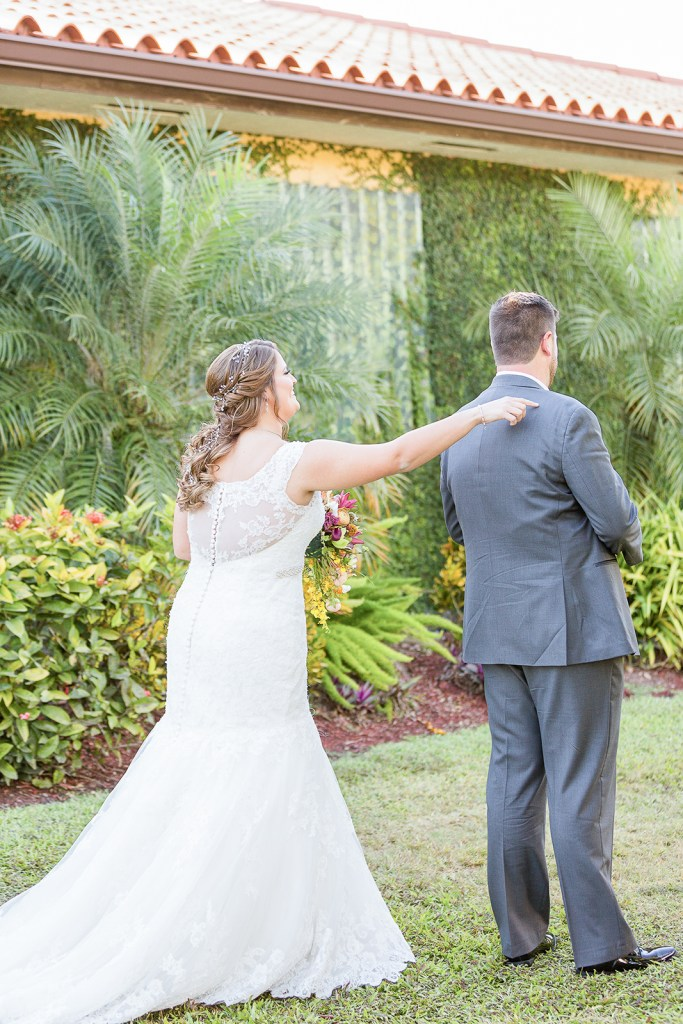 First look with bride and groom on their wedding day | Chris Sosa Photography | Miami Wedding Photographer