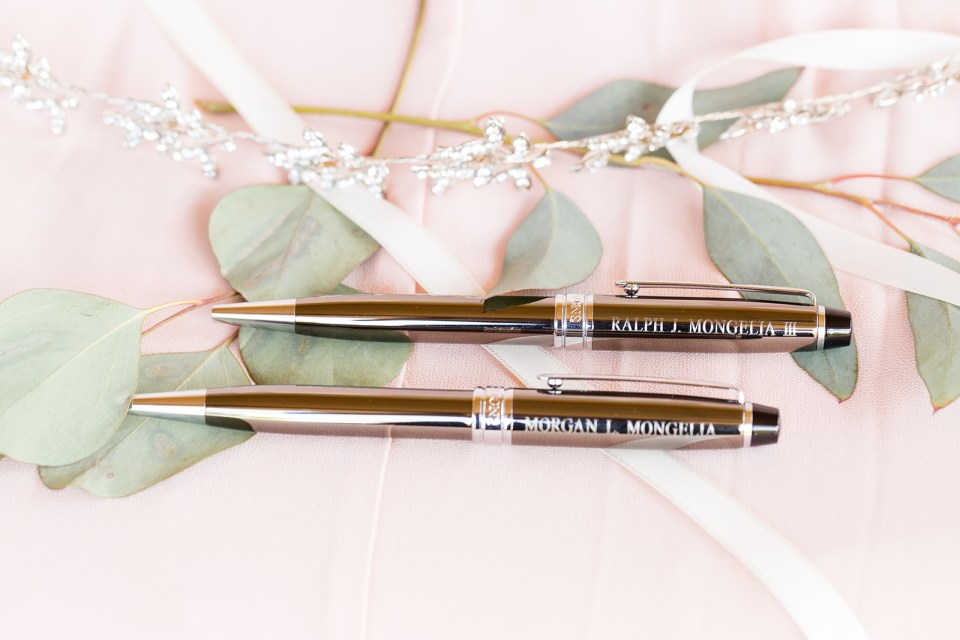 bride and groom custom made pens for signing the marriage license
