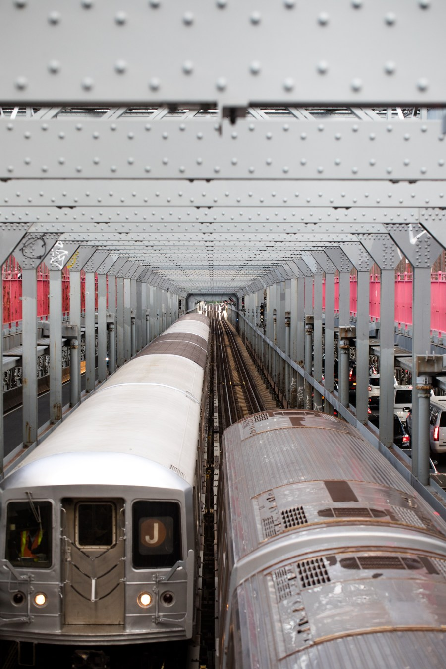 Passing trains on bridge, The Initation