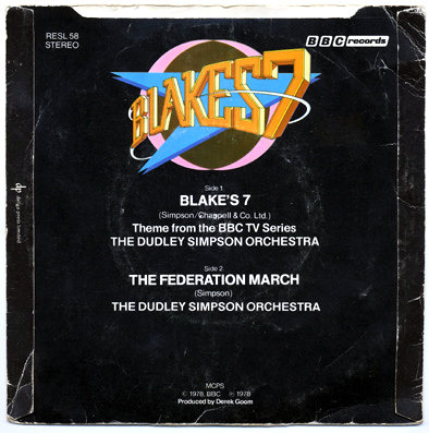 """Blake's Seven 7"""" single back cover, on Flickr.com, by Unloveable, via a Creative Commons Attribution licence"""