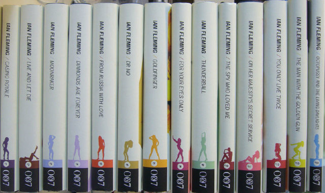 Spines of new Penguin Bonds; image from The Penguin Blog at http://thepenguinblog.typepad.com/the_penguin_blog/2008/05/covering-bond.html