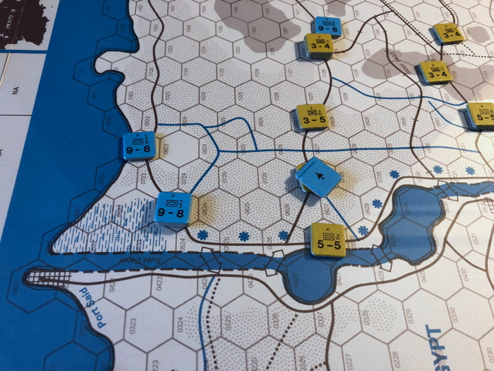 Sinai 1967 Scenario Turn 3 after Israeli Combat Phase, Suez Front