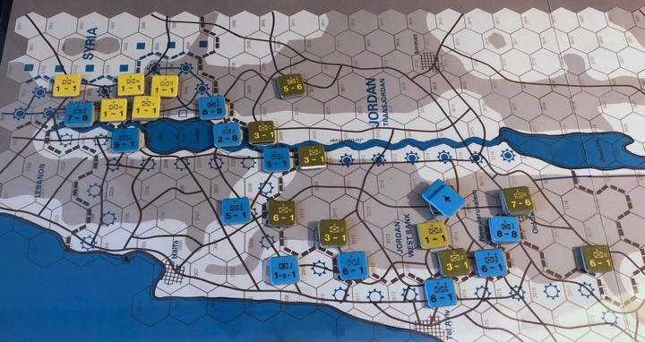 Sinai 1967 Scenario Turn 2 after Israeli Combat Phase, Syrian/Jordanian Front