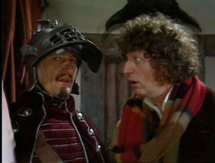 Peter Jeffrey as Count Grendel and Tom Baker as the Fourth Doctor