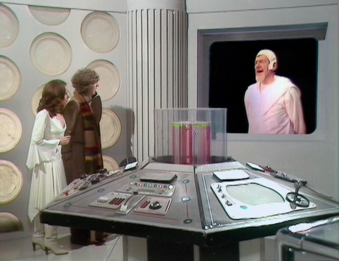 The Doctor and Romana face off against the Guardian