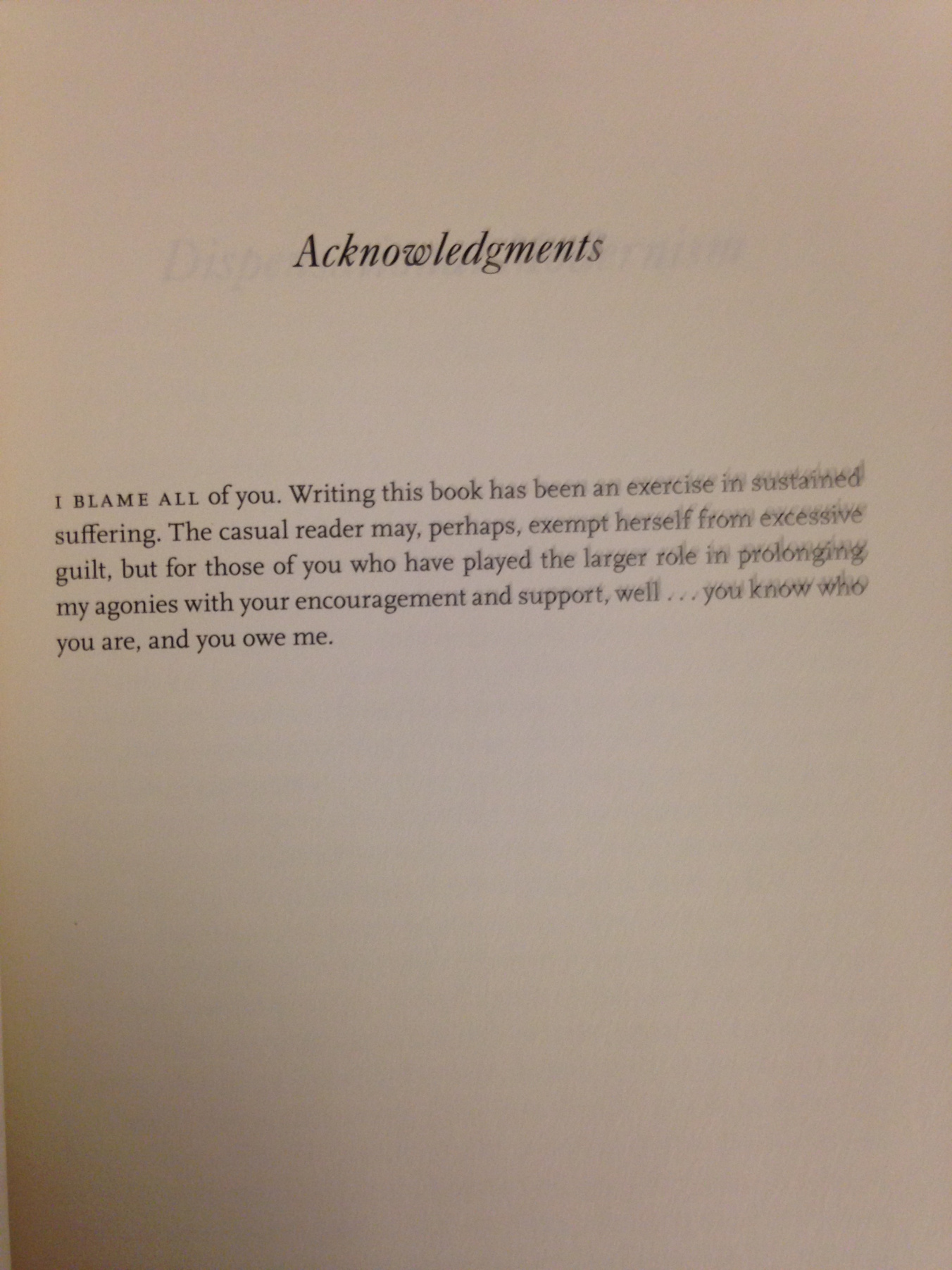The Best Or At Least The Most Honest Acknowledgements