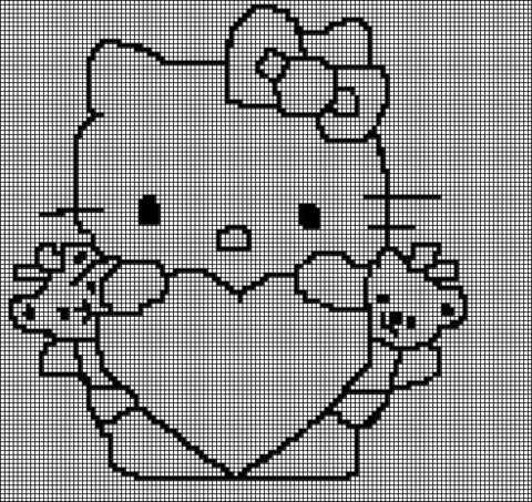 Hello Kitty Tunisian Simple Stitch Crochet Afghan Graph