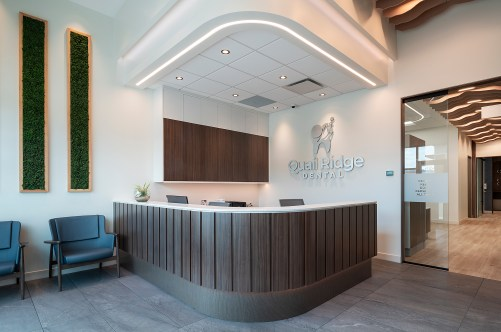 Reception area of Quail Ridge Dental in Kelowna, BC.