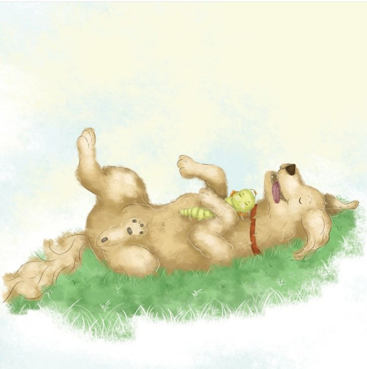 My first children's picture book is about a friendship between a puppy and a caterpillar