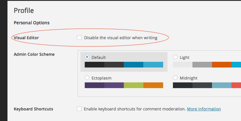 Disabl visual editor