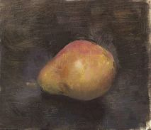 Still Life Paintings Fruit-Image Title-Red Bartlett Pear-Artist Christopher Gallego