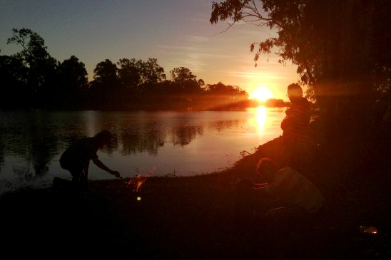"""Artist Dale Harding and crew on the bank of Bakers Creek, Mackay Queensland. """"Colour Theory"""" 2013"""