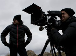"Director Douglas Watkin and DOP Lucas Tomoana brave the elements in Wagga Wagga, NSW. ""Ella's Journey"" 2015"