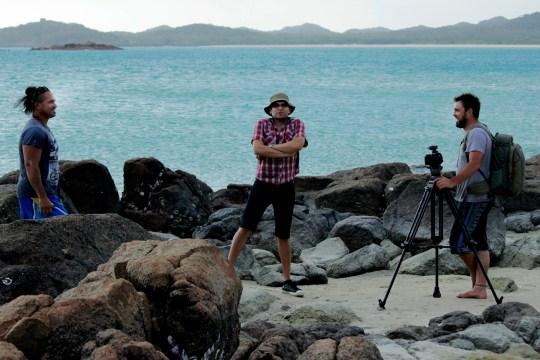Artist Laurie None, Director Douglas Watkin and DOP Brad Francis on Badu Island, 2014.