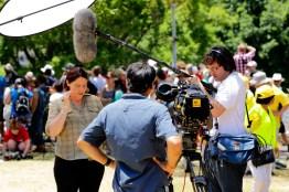 Journalist Kathy McLeish, Camera Erik Havnen and Sound Paul Castellaro during Brisbane G8 Summit protests, 2014