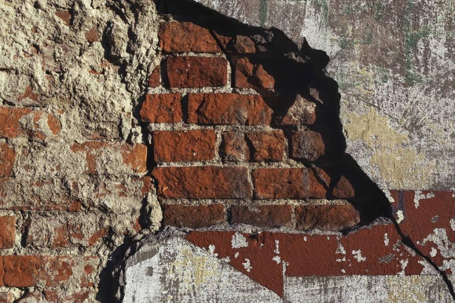 Crumbling brickwork