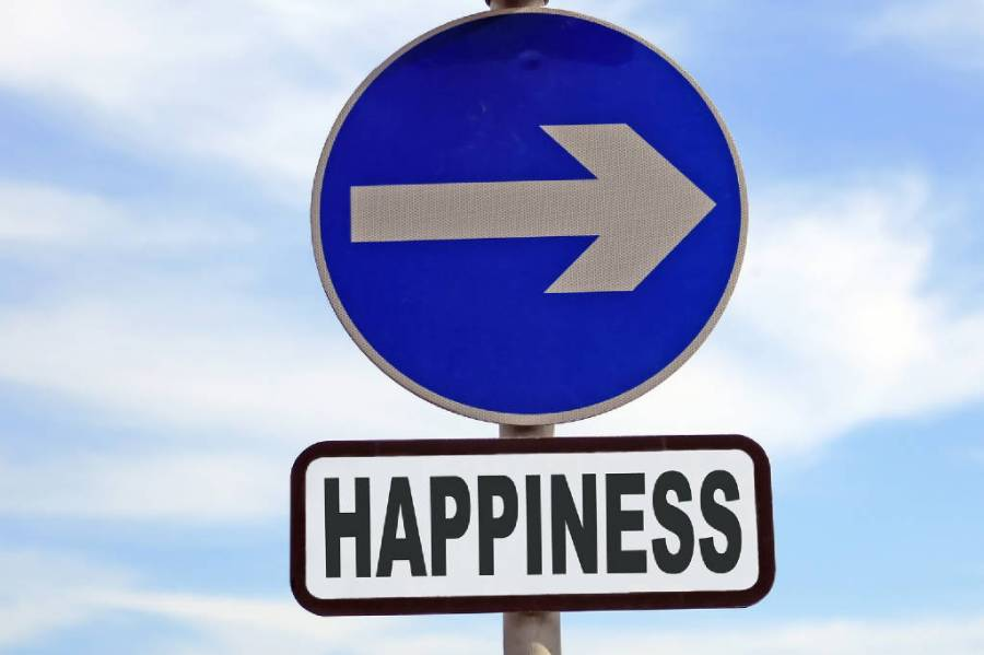 Happiness sign post