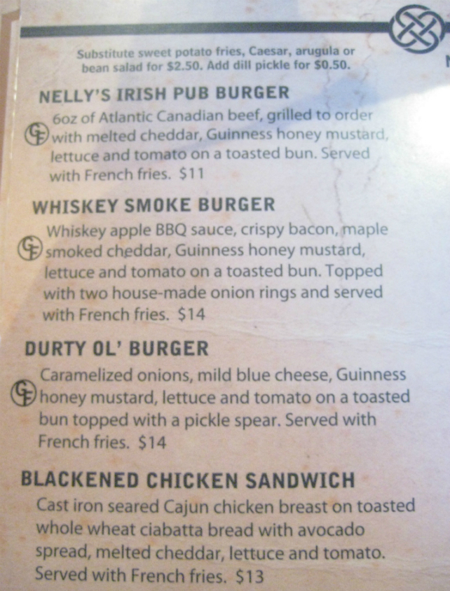 Durty Nelly's - Burger Menu