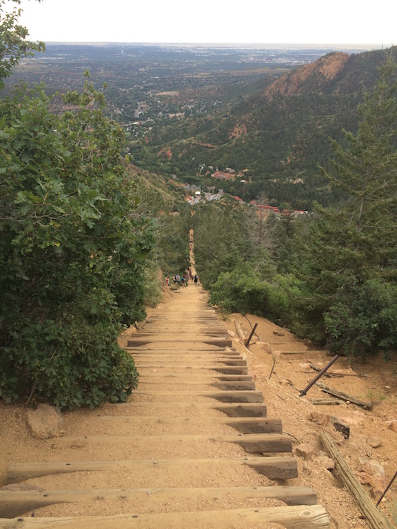 Manitou Springs Incline - The view from 1000m (looking down)