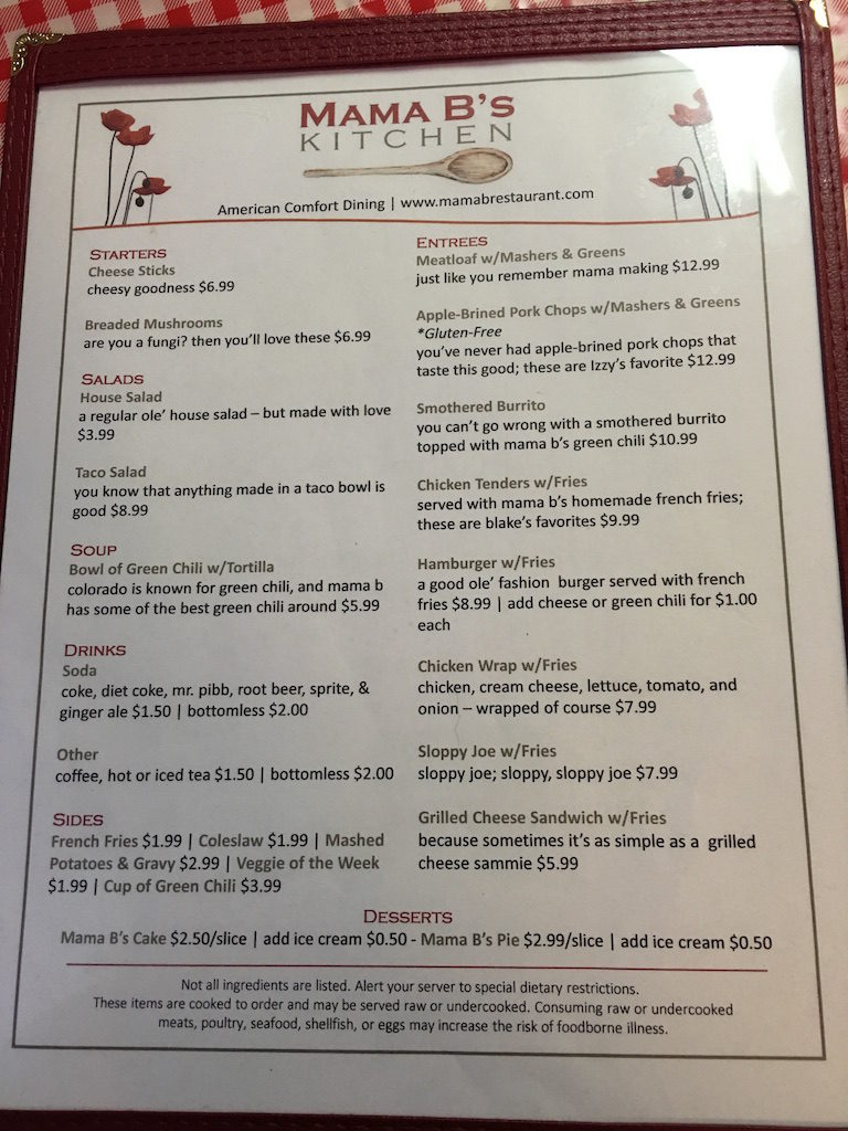 Mama B's Kitchen - Menu