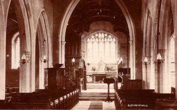 Church interior 1930's - notice the oil lamps
