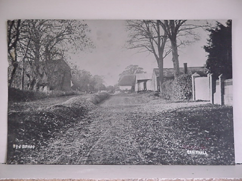 Church Road with thatched cottages