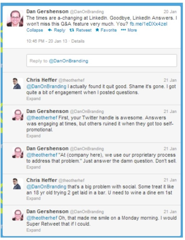 twitter conversation between @theotherhef and @danonbranding