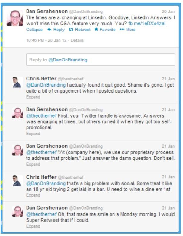 twitter conversation between @theotherhef and @danonbranding