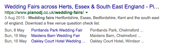 structured data wedding fairs