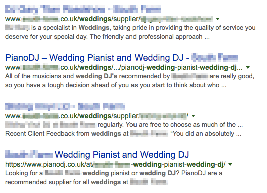 venue name wedding DJ SERPs page