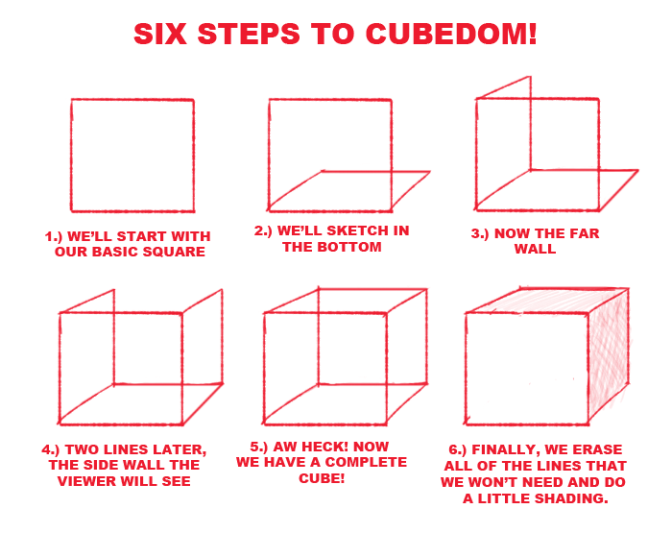 Six step to drawing a cube