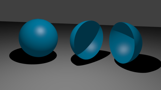 a whole sphere and a sphere split in two