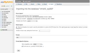 screen where I upload my SQL file