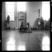 Leanna Wigginton and Lucia Young rehearsing a scene.