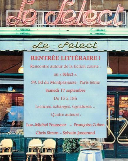 Café Le Select, Paris rentrée Littéraire