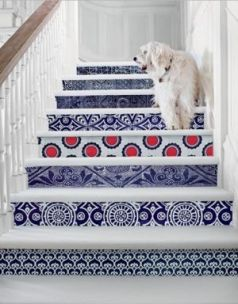 Victorian style wallpaper staircase