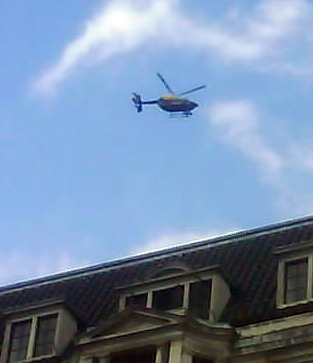 Helicopter hovers over the G20 protest